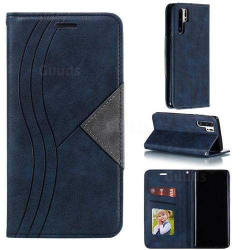 Retro S Streak Magnetic Leather Wallet Phone Case for Huawei P30 Pro - Blue