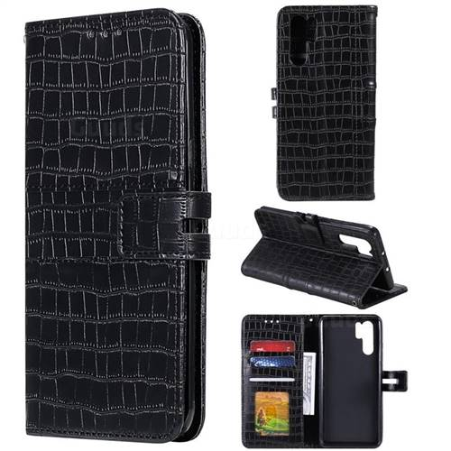 Luxury Crocodile Magnetic Leather Wallet Phone Case for Huawei P30 Pro - Black