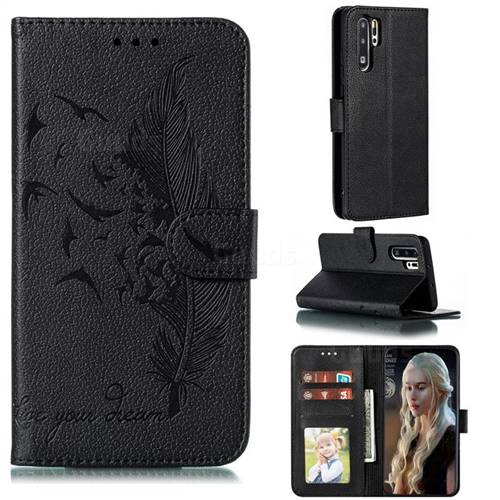 Intricate Embossing Lychee Feather Bird Leather Wallet Case for Huawei P30 Pro - Black