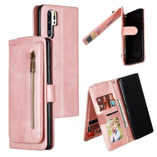 Multifunction 9 Cards Leather Zipper Wallet Phone Case for Huawei P30 Pro - Rose Gold