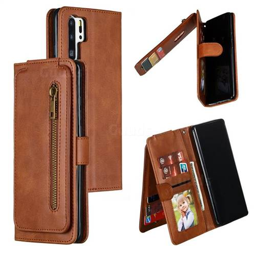 Multifunction 9 Cards Leather Zipper Wallet Phone Case for Huawei P30 Pro - Brown