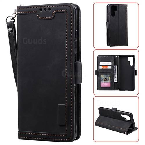 Luxury Retro Stitching Leather Wallet Phone Case for Huawei P30 Pro - Black