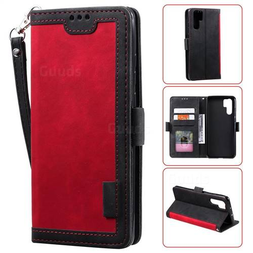 Luxury Retro Stitching Leather Wallet Phone Case for Huawei P30 Pro - Deep Red