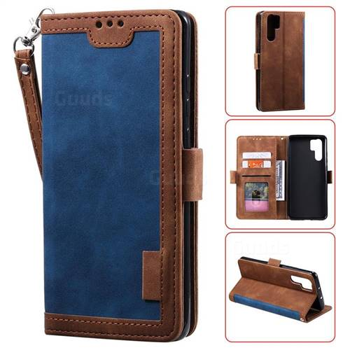 Luxury Retro Stitching Leather Wallet Phone Case for Huawei P30 Pro - Dark Blue