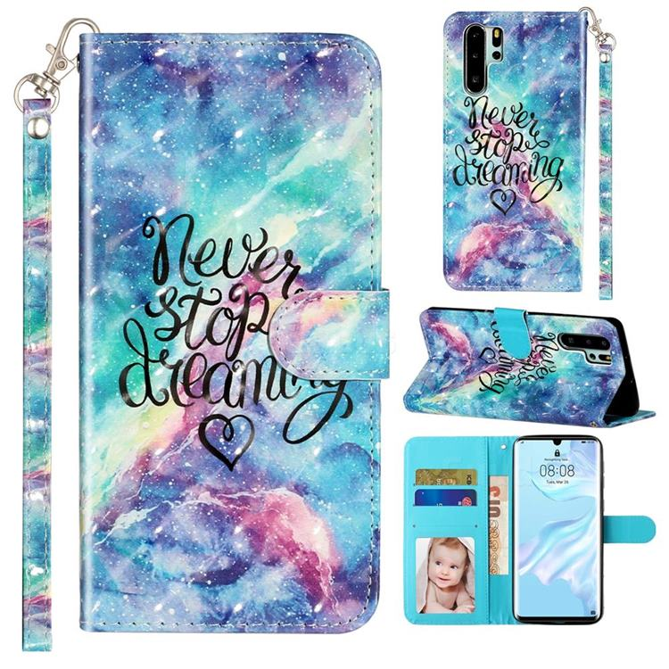 Blue Starry Sky 3D Leather Phone Holster Wallet Case for Huawei P30 Pro