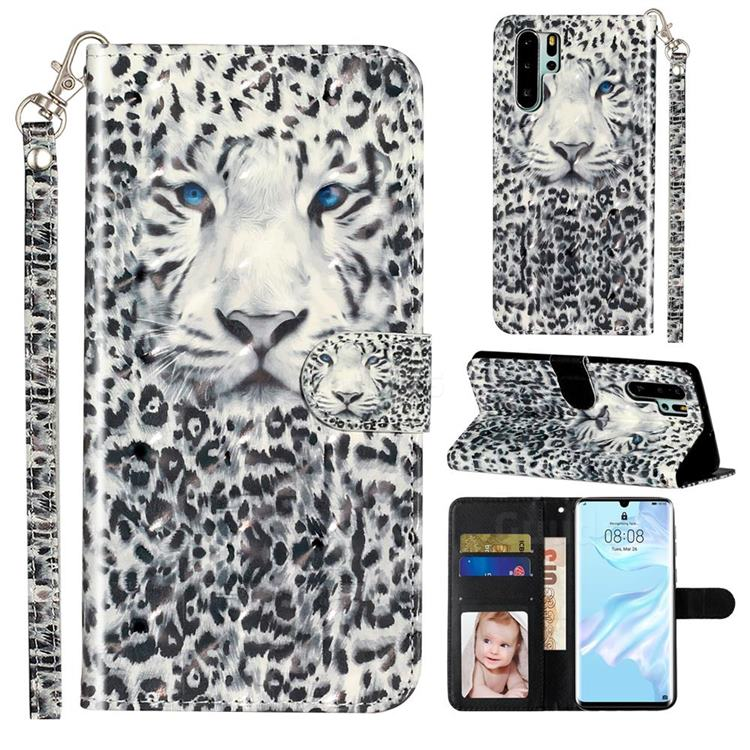 White Leopard 3D Leather Phone Holster Wallet Case for Huawei P30 Pro