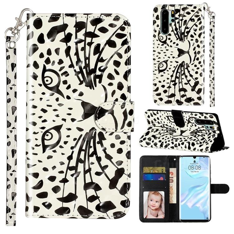 Leopard Panther 3D Leather Phone Holster Wallet Case for Huawei P30 Pro
