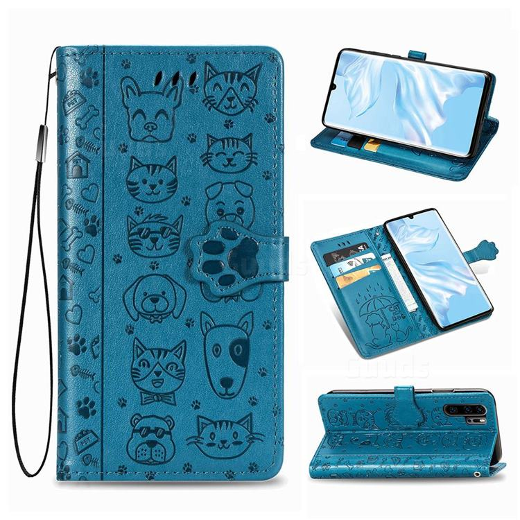 Embossing Dog Paw Kitten and Puppy Leather Wallet Case for Huawei P30 Pro - Blue