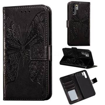 Intricate Embossing Vivid Butterfly Leather Wallet Case for Huawei P30 Pro - Black