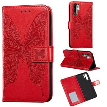 Intricate Embossing Vivid Butterfly Leather Wallet Case for Huawei P30 Pro - Red