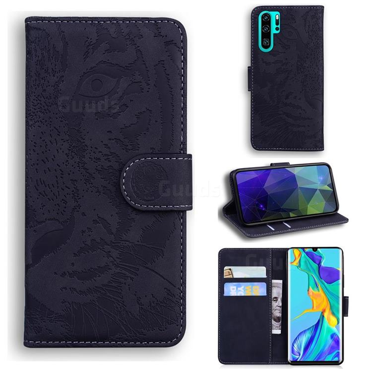 Intricate Embossing Tiger Face Leather Wallet Case for Huawei P30 Pro - Black