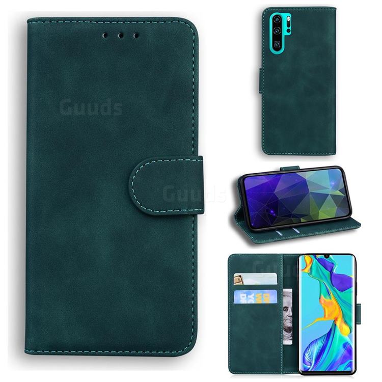 Retro Classic Skin Feel Leather Wallet Phone Case for Huawei P30 Pro - Green