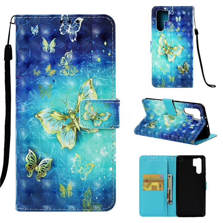 Gold Butterfly 3D Painted Leather Wallet Case for Huawei P30 Pro