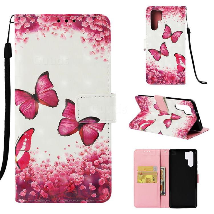 Rose Butterfly 3D Painted Leather Wallet Case for Huawei P30 Pro