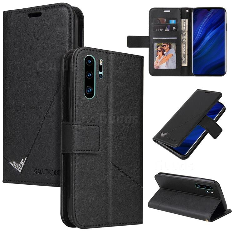 GQ.UTROBE Right Angle Silver Pendant Leather Wallet Phone Case for Huawei P30 Pro - Black