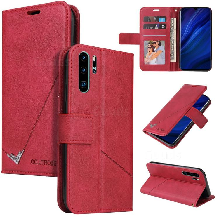 GQ.UTROBE Right Angle Silver Pendant Leather Wallet Phone Case for Huawei P30 Pro - Red