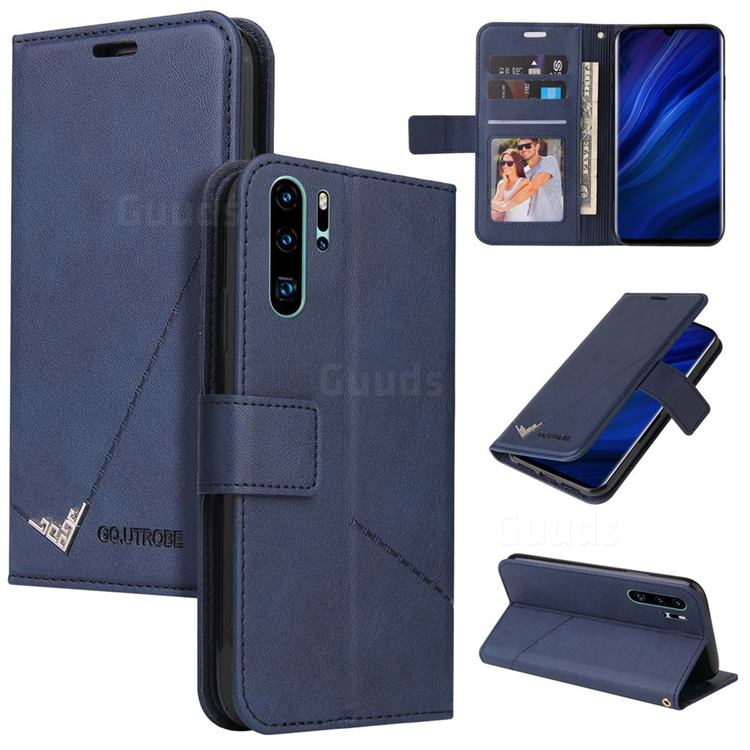GQ.UTROBE Right Angle Silver Pendant Leather Wallet Phone Case for Huawei P30 Pro - Blue