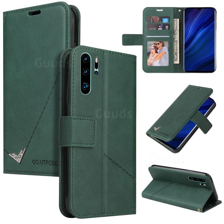 GQ.UTROBE Right Angle Silver Pendant Leather Wallet Phone Case for Huawei P30 Pro - Green