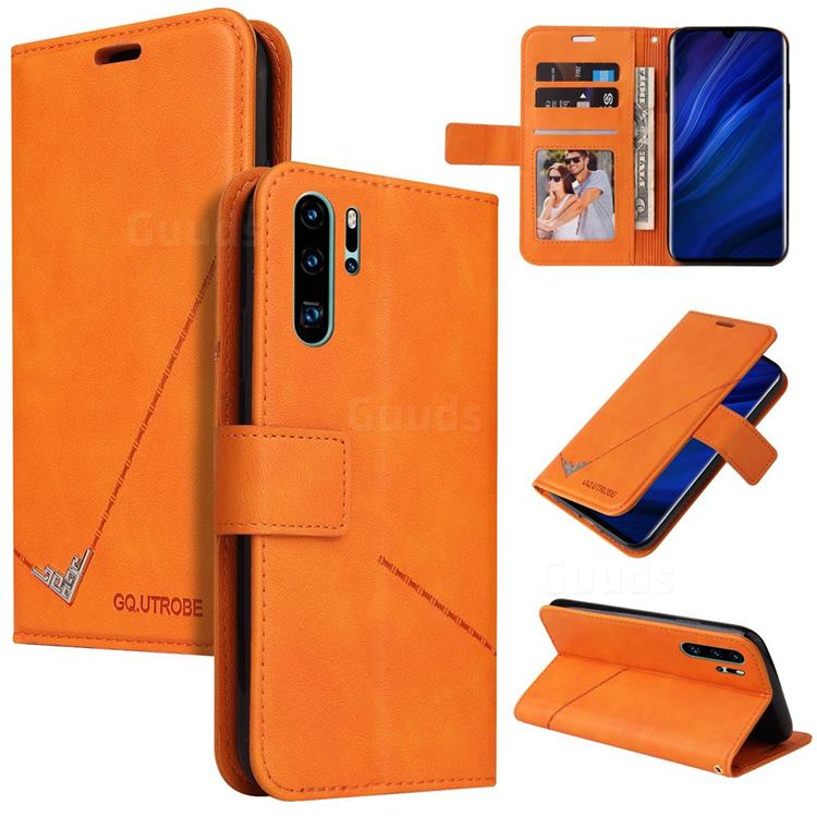 GQ.UTROBE Right Angle Silver Pendant Leather Wallet Phone Case for Huawei P30 Pro - Orange