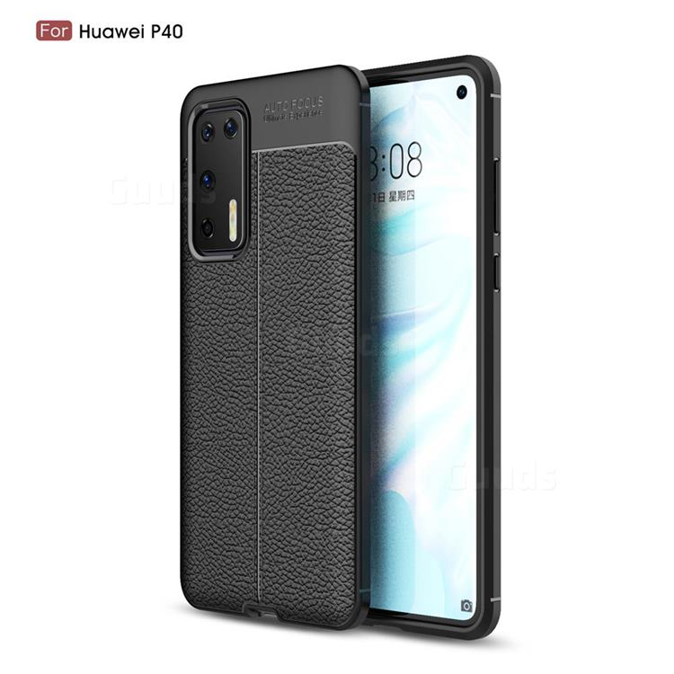 Luxury Auto Focus Litchi Texture Silicone TPU Back Cover for Huawei P40 - Black