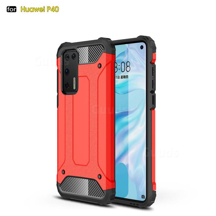 King Kong Armor Premium Shockproof Dual Layer Rugged Hard Cover for Huawei P40 - Big Red
