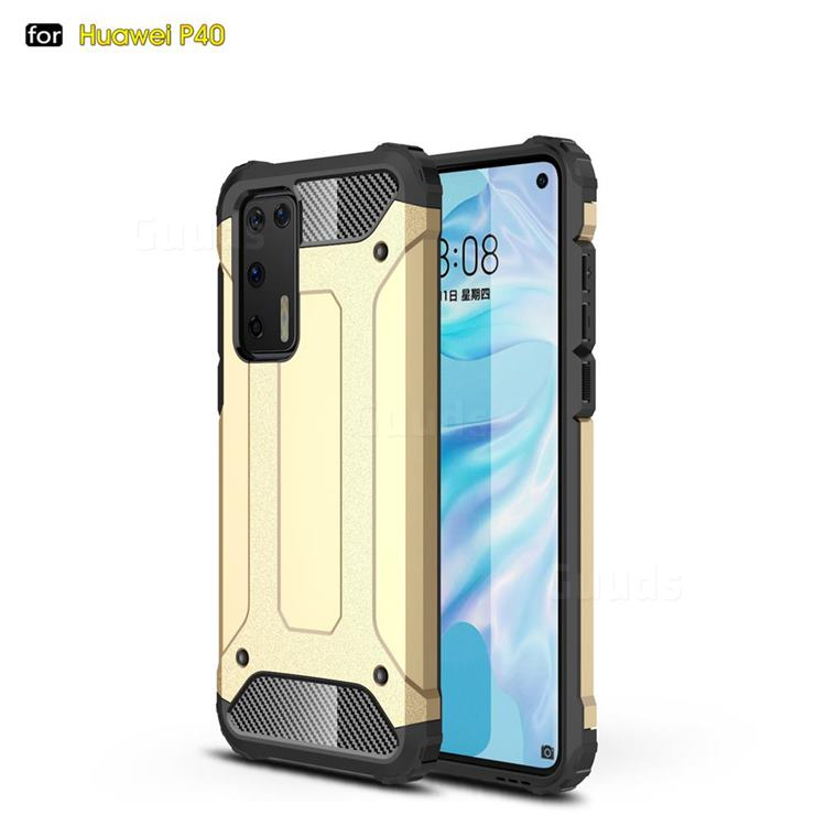 King Kong Armor Premium Shockproof Dual Layer Rugged Hard Cover for Huawei P40 - Champagne Gold