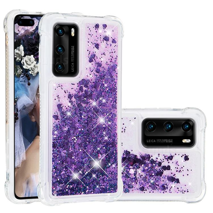 Dynamic Liquid Glitter Sand Quicksand Star TPU Case for Huawei P40 - Purple