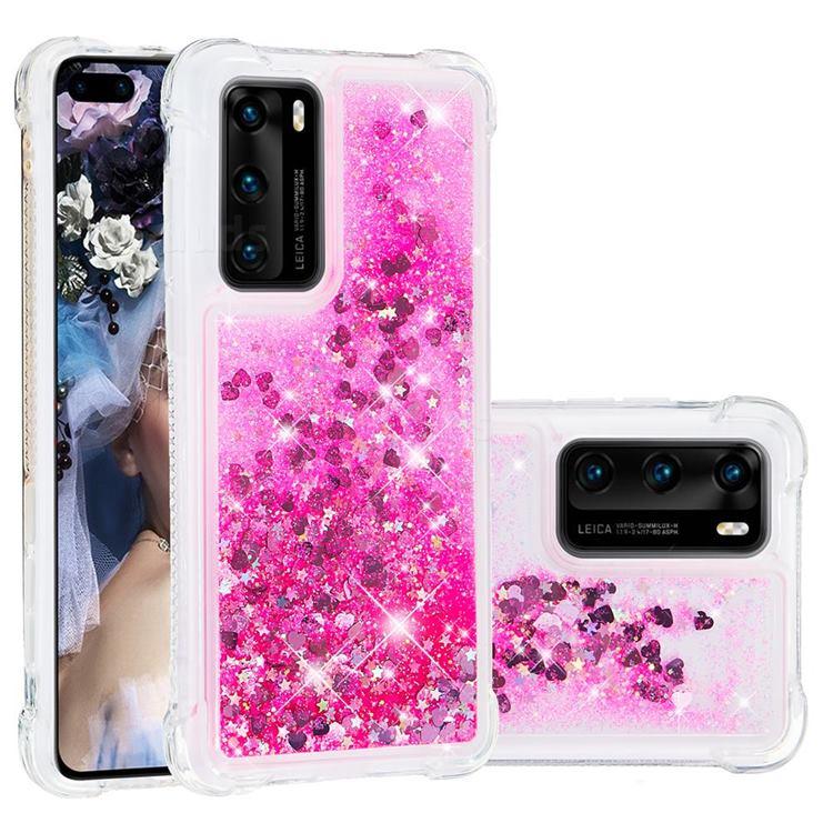 Dynamic Liquid Glitter Sand Quicksand TPU Case for Huawei P40 - Pink Love Heart