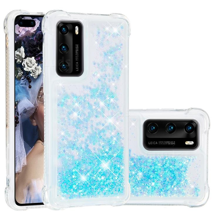 Dynamic Liquid Glitter Sand Quicksand TPU Case for Huawei P40 - Silver Blue Star