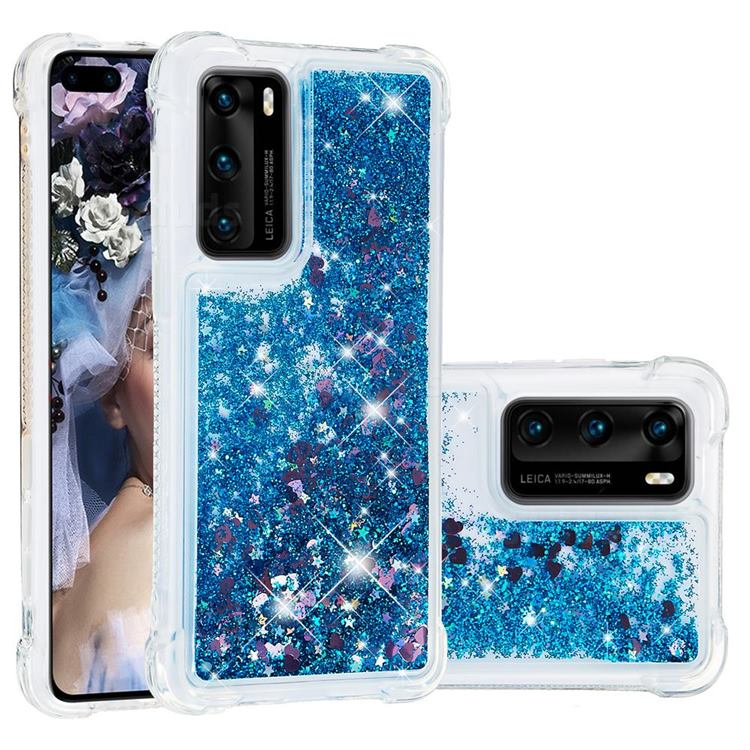 Dynamic Liquid Glitter Sand Quicksand TPU Case for Huawei P40 - Blue Love Heart