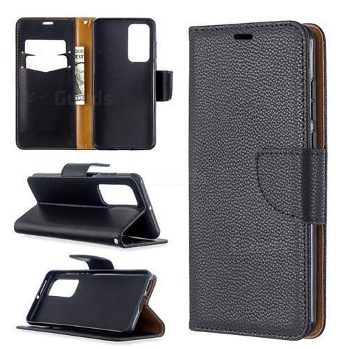 Classic Luxury Litchi Leather Phone Wallet Case for Huawei P40 - Black