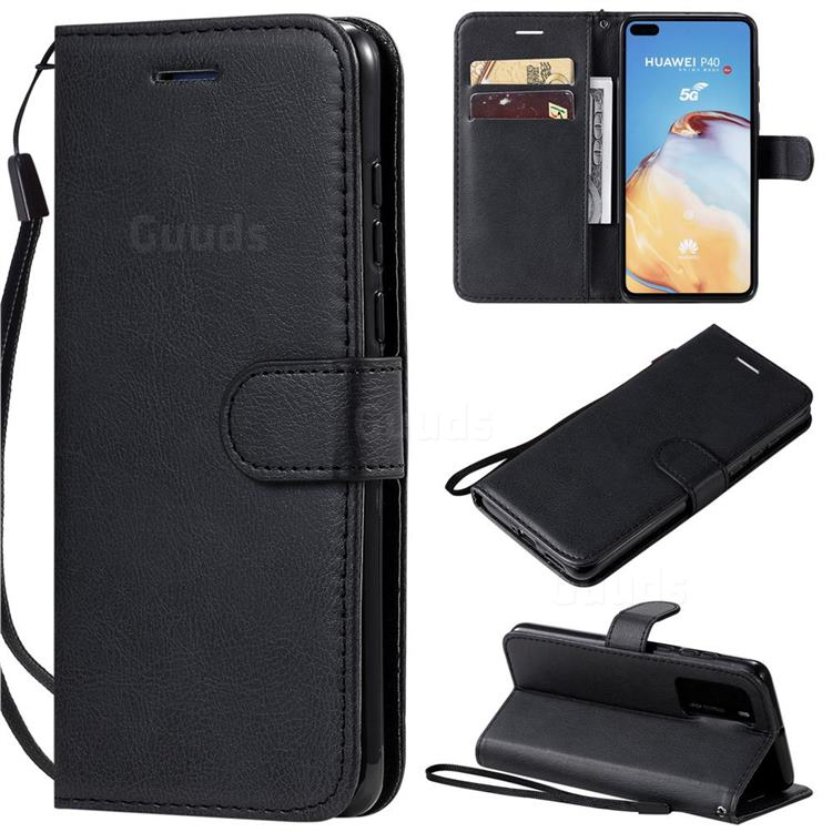 Retro Greek Classic Smooth PU Leather Wallet Phone Case for Huawei P40 - Black