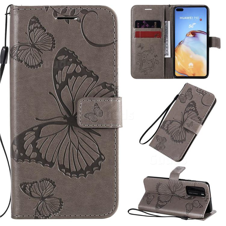 Embossing 3D Butterfly Leather Wallet Case for Huawei P40 - Gray