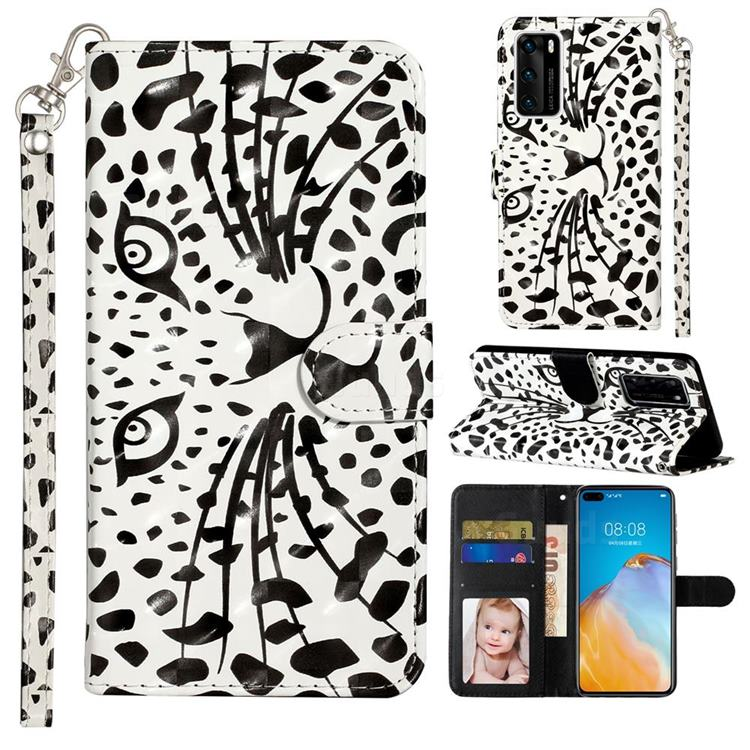 Leopard Panther 3D Leather Phone Holster Wallet Case for Huawei P40