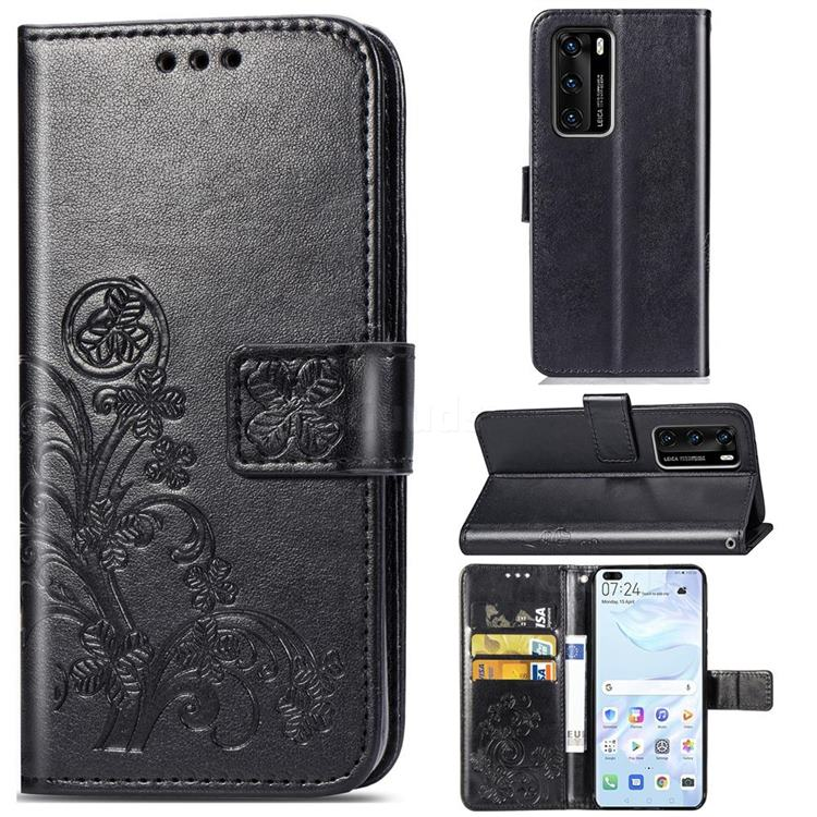Embossing Imprint Four-Leaf Clover Leather Wallet Case for Huawei P40 - Black