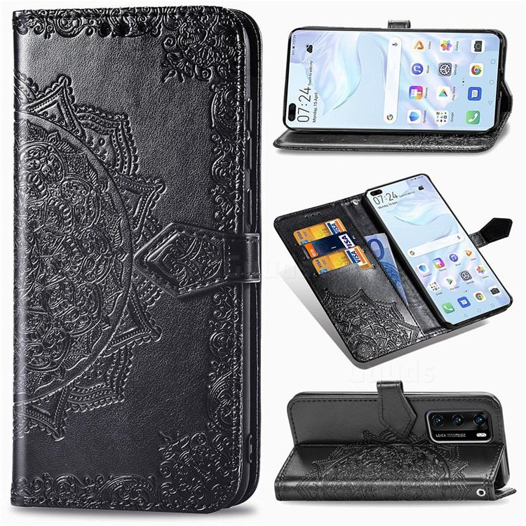 Embossing Imprint Mandala Flower Leather Wallet Case for Huawei P40 - Black