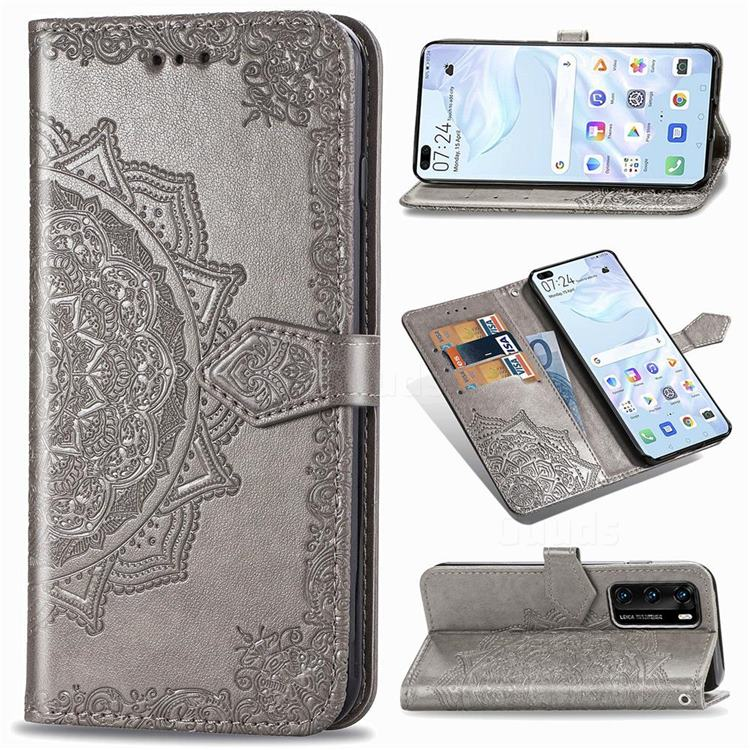 Embossing Imprint Mandala Flower Leather Wallet Case for Huawei P40 - Gray