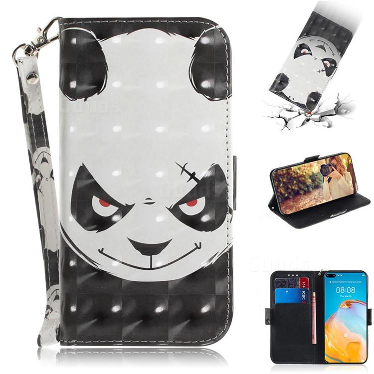 Angry Bear 3D Painted Leather Wallet Phone Case for Huawei P40