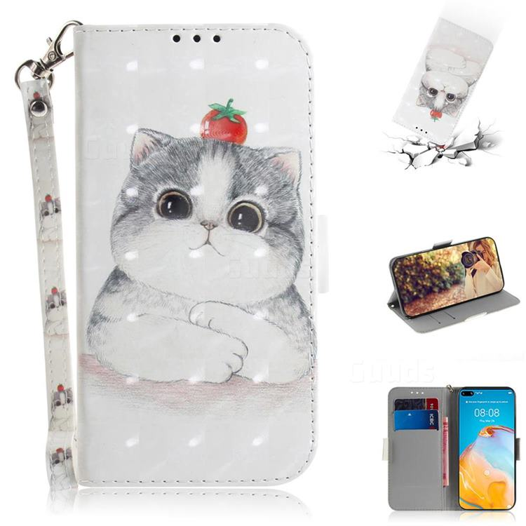 Cute Tomato Cat 3D Painted Leather Wallet Phone Case for Huawei P40