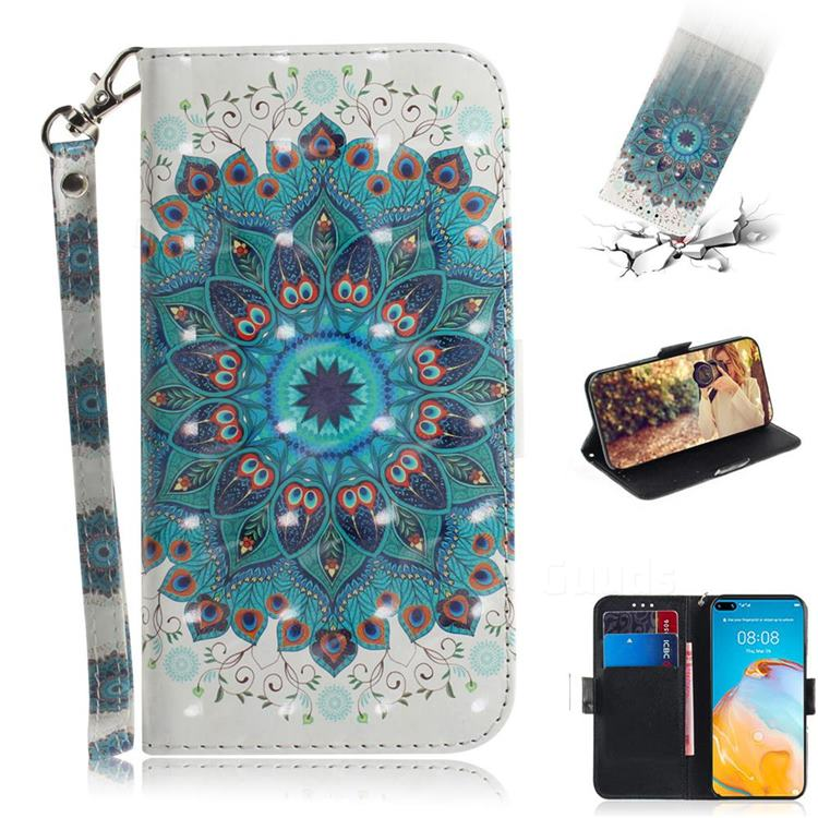 Peacock Mandala 3D Painted Leather Wallet Phone Case for Huawei P40