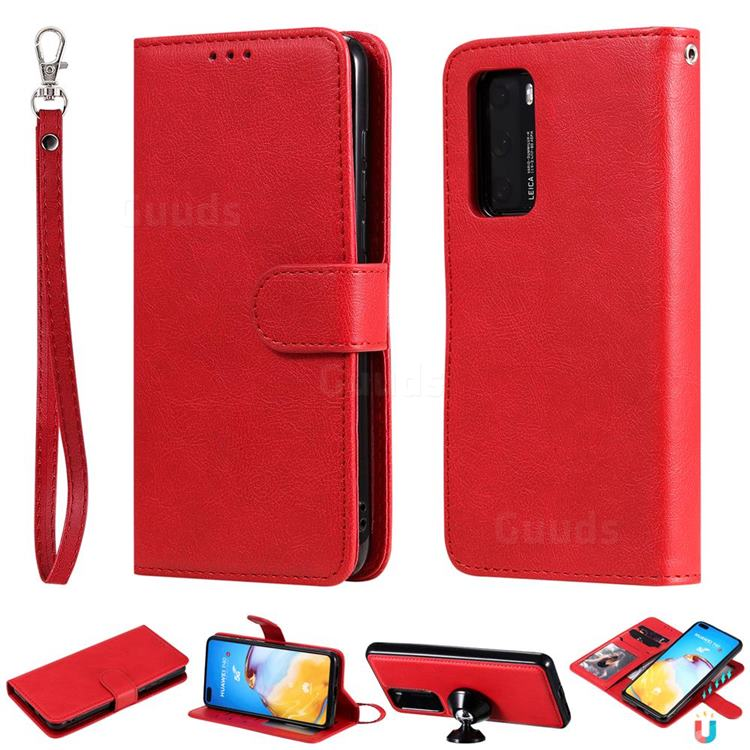 Retro Greek Detachable Magnetic PU Leather Wallet Phone Case for Huawei P40 - Red