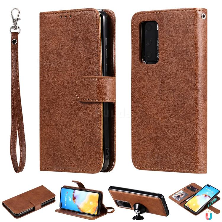 Retro Greek Detachable Magnetic PU Leather Wallet Phone Case for Huawei P40 - Brown