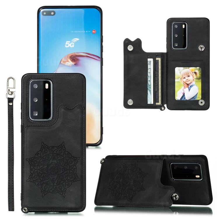 Luxury Mandala Multi-function Magnetic Card Slots Stand Leather Back Cover for Huawei P40 - Black