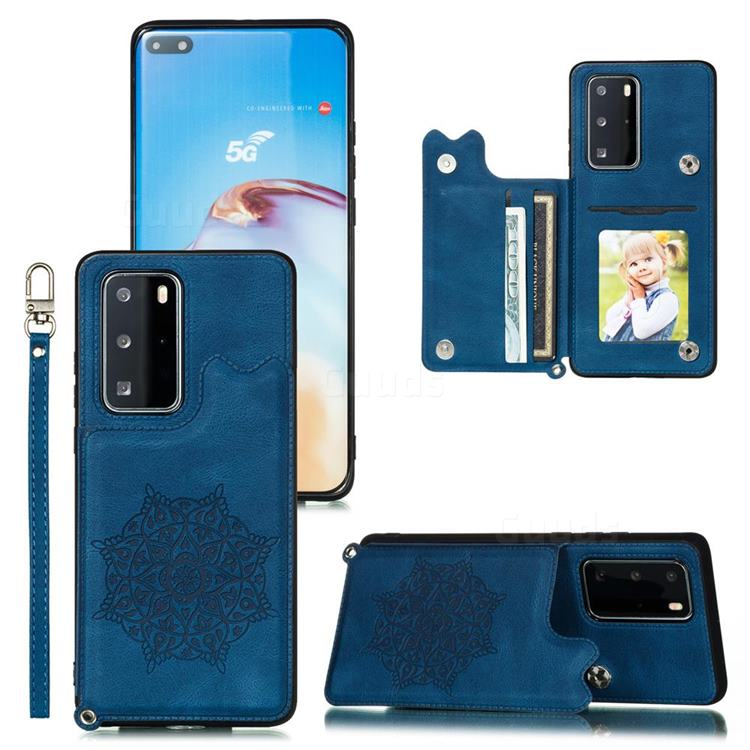 Luxury Mandala Multi-function Magnetic Card Slots Stand Leather Back Cover for Huawei P40 - Blue