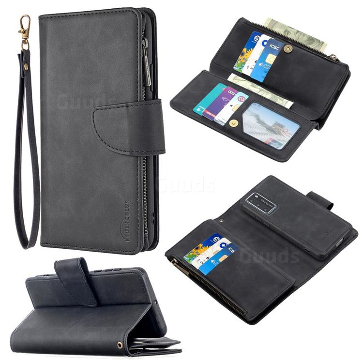Binfen Color BF02 Sensory Buckle Zipper Multifunction Leather Phone Wallet for Huawei P40 - Black