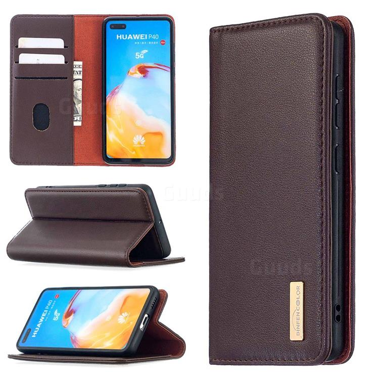 Binfen Color BF06 Luxury Classic Genuine Leather Detachable Magnet Holster Cover for Huawei P40 - Dark Brown