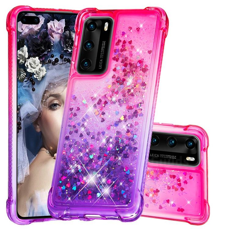Rainbow Gradient Liquid Glitter Quicksand Sequins Phone Case for Huawei P40 - Pink Purple