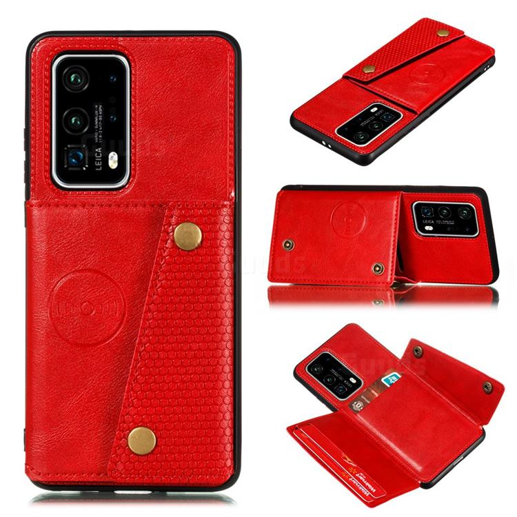 Retro Multifunction Card Slots Stand Leather Coated Phone Back Cover for Huawei P40 - Red