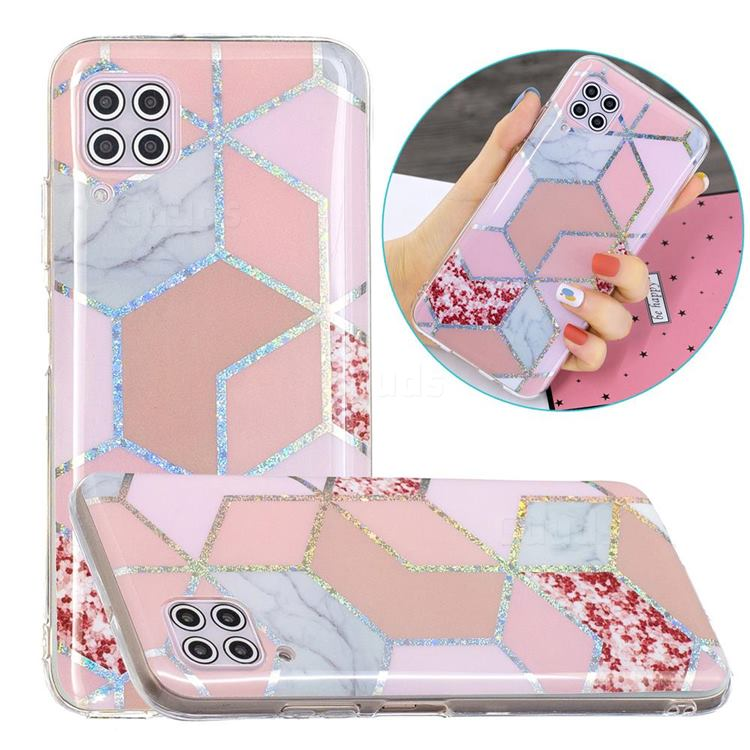 Pink Marble Painted Galvanized Electroplating Soft Phone Case Cover for Huawei P40 Lite