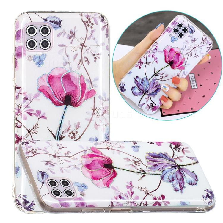 Magnolia Painted Galvanized Electroplating Soft Phone Case Cover for Huawei P40 Lite